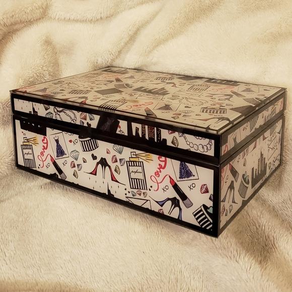 Other - Printed Glass Jewelry Box Storage Organizer